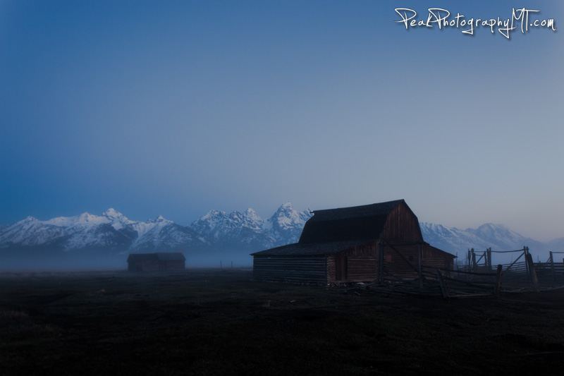 The scene I came upon when  I arrived at Mormon Row Barn in the Tetons to shoot the sunrise. (click the image to buy a print!)